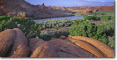 Stock photo. Caption: Mule Ear & Lime Ridge from Comb Wash San Juan River Canyon BLM San Juan Resource Area San Juan County,   Utah -- deserts canyon country southwest southwestern united states america landscape landscapes rock canyons america slickrock rivers bureau land management desert arid rivers panoramic panoramics panoramas deserts panoramas clear blue skies sunny scenics scenic