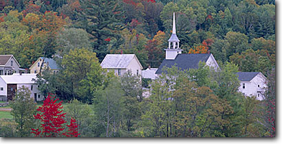Stock photo. Caption: Groton Caledonia County New England Vermont -- united states america fall color colour colours colour steeple church churches religious town towns villages village steeples northeast quaint panoramic panoramics panoramas panorama building buildings foliage autumn picturesque scenics scenic views
