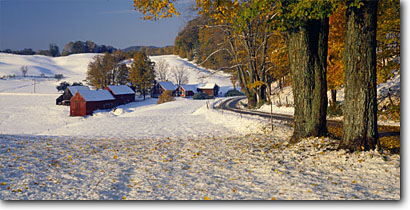 Stock photo. Caption: The Jenne Farm Reading Windsor County Vermont,  New England -- panorama panoramas panoramic panoramics landscape landscapes scenic scenics scene travel buildings building barns winter farms farming northeast northeastern northern rural american america fall foliage snow road roads backroads backroad byways byway