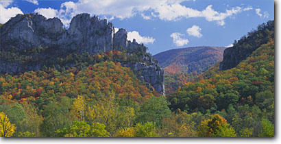 Stock photo. Caption: Seneca Rocks,  Spruce Knob-Seneca   Rocks National Recreation Area Monongahela National Forest Allegheny Mountains,  West Virginia -- peaks peak mountain fall autumn tree trees color forests areas sunny united states america landscape landscapes monoliths landmarks hardwood forest areas panoramic panoramics panoramas panorama clear sunny scenic views scenics foliage northeast landmark