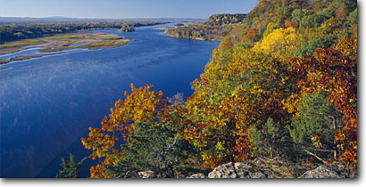 Stock photo. Caption: Wisconsin River   from Cactus Bluff Ferry Bluff State Natural Area Sauk County,  Wisconsin -- panorama panoramas panoramic panoramics landscape landscapes scenic scenics byway byways backroads backroad fall autumn wetland wetlands water foliage large geologic parks park glaciers edge valley valleys scene areas vista vistas views view  waterway