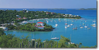 Stock photo. Caption: Government House Cruz Bay Saint John United States Virgin Islands -- caribbean tropical island destination destinations tourist harbor harbors harbour harbours sail boat boats vessel vessels protected protectorate travel aqua blue water panoramic panoramics panoramas tropics buildings building sunny skies sailboats scenics