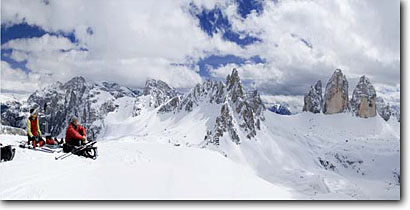 Stock photo. Caption: Paternkofel and Tre Cima Di Lavaredo Val Fiscalina Dolomites Sudtirol, Italy -- outdoor recreation backcountry freedom solitude dramatic panoramas mountains expanse cold winter scenic scenics landscape landscapes mountain extreme destination destinations  alpine backcountry european europe people skiing skiers skier panoramic