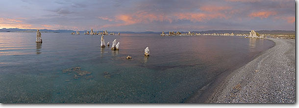 Stock photo. Caption: Mono Lake and tufa at sunrise South Mono Lake Tufa Area Mono Lake Tufa State Reserve Mono County, California -- Keywords: panoramic panoramics landscape landscapes great basin united states america scenic forest national eastern sierras eastside shore shoreline lakes geologic formation formations unusual reserves protected panorama panoramas