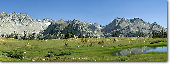 Stock photo. Caption: Pioneer Basin, Mono Divide John Muir Wilderness Sierra National Forest Sierra Nevada,  California -- Keywords: panoramic panoramics united states america timberline trails peaks wildernesses backcountry backpacking hiking summer highcountry sunny blue  clear skies landscape landscapes   alpine trail sierras trail wilderness panorama panoramas