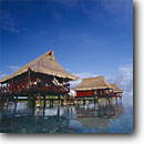 Stock photo. Caption: Hotel over lagoon Raiatea Society Islands French Polynesia -- Keywords: