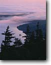 Stock photo. Caption: Fog over Eagle Lake at sunrise   from the summit of Pemetic Mountain Acadia National Park Mount Desert Island,  Maine -- united states america shoreline shorelines eastern east coast parks vista vistas island lakes new england nothern northeastern