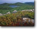 Stock photo. Caption: The Bowl, The Beehive and Gorham Mountains,  from Champlain Mountain Acadia National Park Mount Desert Island,  Maine -- united states america parks fall autumn new england leaves color colors colour colours blueberries hardwood forest northern northeastern granite outcroppings seascape seascapes landscape landscapes